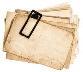 Pile of old postcards isolated on white — Stock Photo