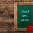 Stock Photo: Vintage green blackboard with red roses