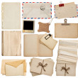 Stock Photo: Set of old paper sheets, book, envelope, postcards