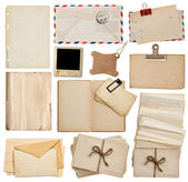 Set of old paper sheets, book, envelope, postcards — Stockfoto