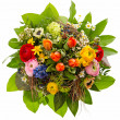 Bouquet of fresh colorful flowers isolated on white — Stock Photo