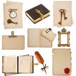 Antique clock, key, postcard, photo album, feather pen — Stock Photo