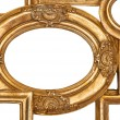 Detail of golden framework isolated on white — Stock Photo