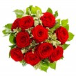 Bouquet of red roses isolated on white — Stockfoto