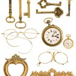 Collection of golden vintage accessories — Stock Photo