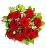 Bouquet of red roses isolated on white — Stock Photo