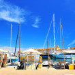 View of Saint Tropez harbor with paint art exhibition — Stock Photo