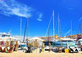 View of Saint Tropez harbor with paint art exhibition — Stock Photo