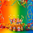 Stock Photo: Birthday cake with candles and colorful decoration