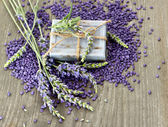 Herbal soap and bath salt with fresh lavender flowers — Stock Photo