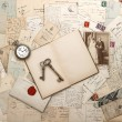 Stock Photo: Antique letters and postcards, old weding photo