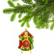 Christmas decoration with clock bauble and evergreen tree branch — Stock Photo