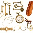 Set of vintage accessories. antique keys, clock, ink feather pen — Stockfoto