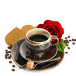Cup of black coffee and red rose flower and cake on white — Stock Photo