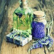 Lavender oil, herbal soap and bath salt — Stock Photo