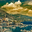 Beautiful sunset in Monaco. mediterranean landscape — Stock Photo