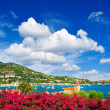 Beautiful mediterranean sea landscape with cloudy blue sky — Stock Photo