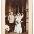Portrait of just married couple. nostalgic picture, circa 1900 — Stock Photo