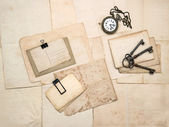 Vintage accessories, old postcards and papers — Stock Photo