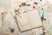 Open empty diary book, old letters, french postcards. scrapbook — Stock Photo