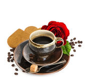 Cup of black coffee and red rose flower and cake on white — Stok fotoğraf