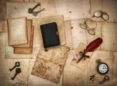 Vintage accessories, bible book, old letters — Stock Photo