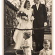 Original antique wedding photo. portrait of just married couple — Stock Photo