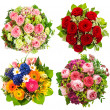 Stock Photo: Four colorful flowers bouquet on white