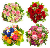 Four colorful flowers bouquet on white — Stock Photo