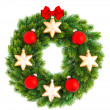 Christmas wreath with red and golden balls — Stock Photo