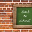 Chalkboard over red brick wall background — Stock Photo