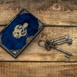 Antique book and old keys — Stock Photo