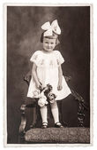 Retro photo of little girl — Stock Photo