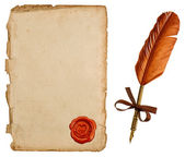 Antique paper sheet with seal — Stock Photo