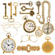 Golden vintage accessories — Stock Photo