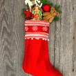 Christmas stocking decoration — Stock Photo