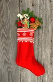Christmas stocking decoration — Stock Photo