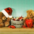 Christmas decoration with toys — Stock Photo