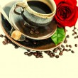 Cup of coffee and red rose.  — Stock Photo