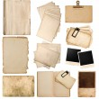 Various old paper sheets and frames — Stockfoto