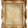 Golden frame with empty cracked canvas for your picture — Stock Photo #31309797