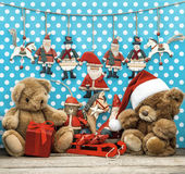 Vintage christmas decoration and toys — Stock Photo