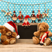 Christmas arrangement with antique toys and blackboard — Foto de Stock