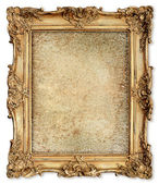 Golden frame with empty cracked canvas for your picture — Stock Photo