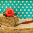 Old love letters and postcards with pink rose flower — Stok fotoğraf