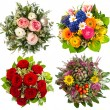 Four colorful flowers bouquet for seasons — Stock Photo
