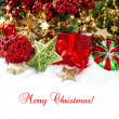Decoration with red baubles, golden garlands, christmas tree — Foto de Stock