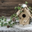 Birdhouse and christmas tree brunch decoration — Stock Photo