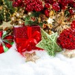 Decoration with baubles, golden garlands, christmas tree — Стоковая фотография