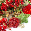 Christmas composition with baubles and golden decorations — Foto de Stock